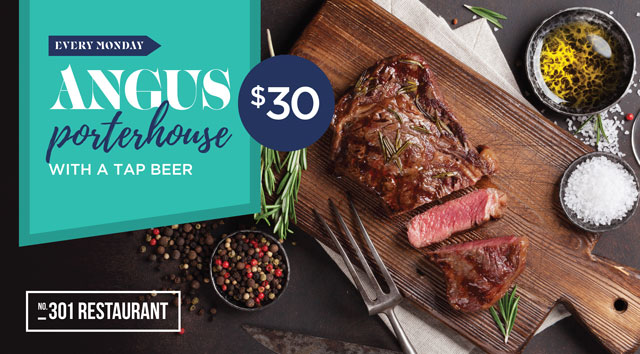Angus Porterhouse with a Tap Beer $30