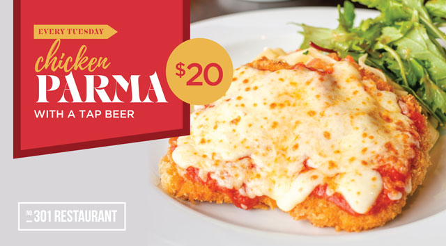 Chicken Parma with a Tap Beer $20